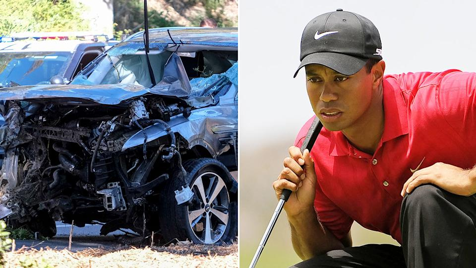 Seen here, Tiger Woods and the damage done to the golfer's car.