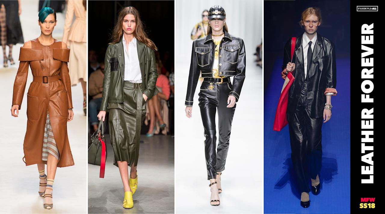 <p><i>Leather in all shapes and colors is a big trend for SS18. That was evidenced by a leather cold-shoulder dress at Fendi, a menswear-inspired suit from Gucci, and Versace's studded cropped jacket with skinny leather trousers. (Photo: ImaxTree, Art: Quinn Lemmers for Yahoo Lifestyle) </i></p>