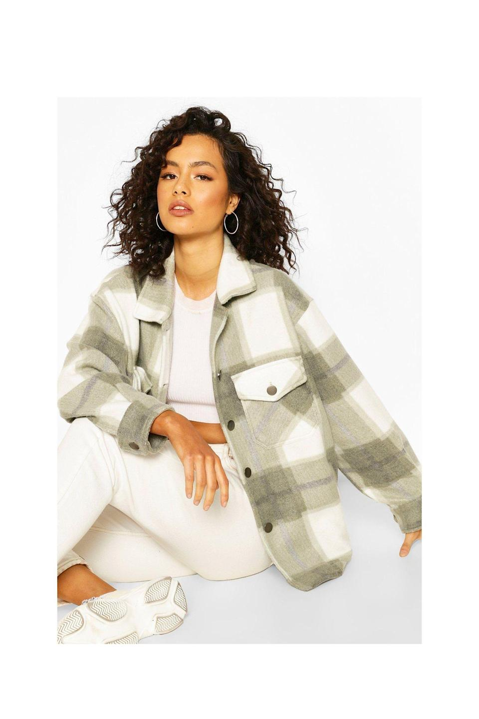 """<p><strong>Boohoo</strong></p><p>boohoo.com</p><p><strong>£28.00</strong></p><p><a href=""""https://go.redirectingat.com?id=74968X1596630&url=https%3A%2F%2Fwww.boohoo.com%2Ftonal-check-trucker-%2FFZZ66159.html&sref=https%3A%2F%2Fwww.cosmopolitan.com%2Fstyle-beauty%2Ffashion%2Fg36232237%2Fbest-shackets%2F"""" rel=""""nofollow noopener"""" target=""""_blank"""" data-ylk=""""slk:Shop Now"""" class=""""link rapid-noclick-resp"""">Shop Now</a></p><p>If you want a neutral one that'll go with nearly anything, here's the shacket for you.</p>"""