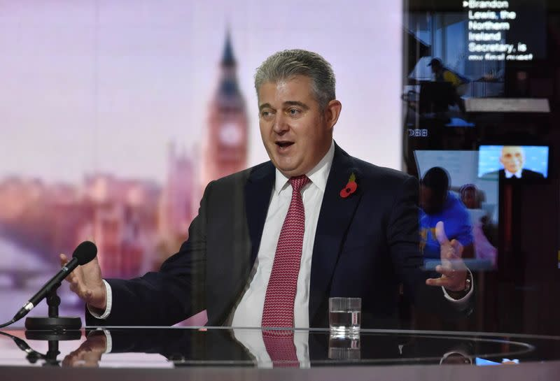 Britain's Secretary of State for Northern Ireland Brandon Lewis appears on BBC TV's The Andrew Marr Show in London
