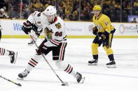 Chicago Blackhawks right wing Patrick Kane (88) shoots against the Nashville Predators during the first period of an NHL hockey game Tuesday, Oct. 29, 2019, in Nashville, Tenn. (AP Photo/Mark Humphrey)
