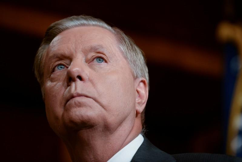 FILE PHOTO: Senator Graham announces a bipartisan agreement on Turkey sanctions during a news conference in Washington