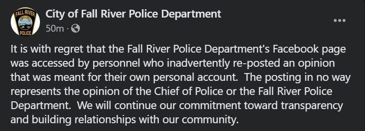 A screenshot of a post from Fall River Police Department in reference to a previous post that was since been deleted.