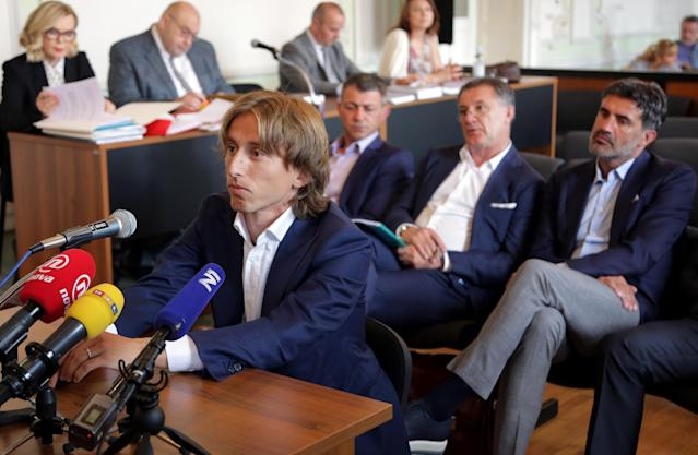 Croatia and Real Madrid midfielder Luka Modric appears in court to testify in a corruption trial in Osijek on June 13, 2017. (Getty Images)