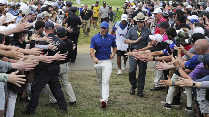 Rory McIlroy, of Northern Ireland, walks to the 10th tee during the final round of the PGA Championship golf tournament, Sunday, May 19, 2019, at Bethpage Black in Farmingdale, N.Y. (AP Photo/Charles Krupa)