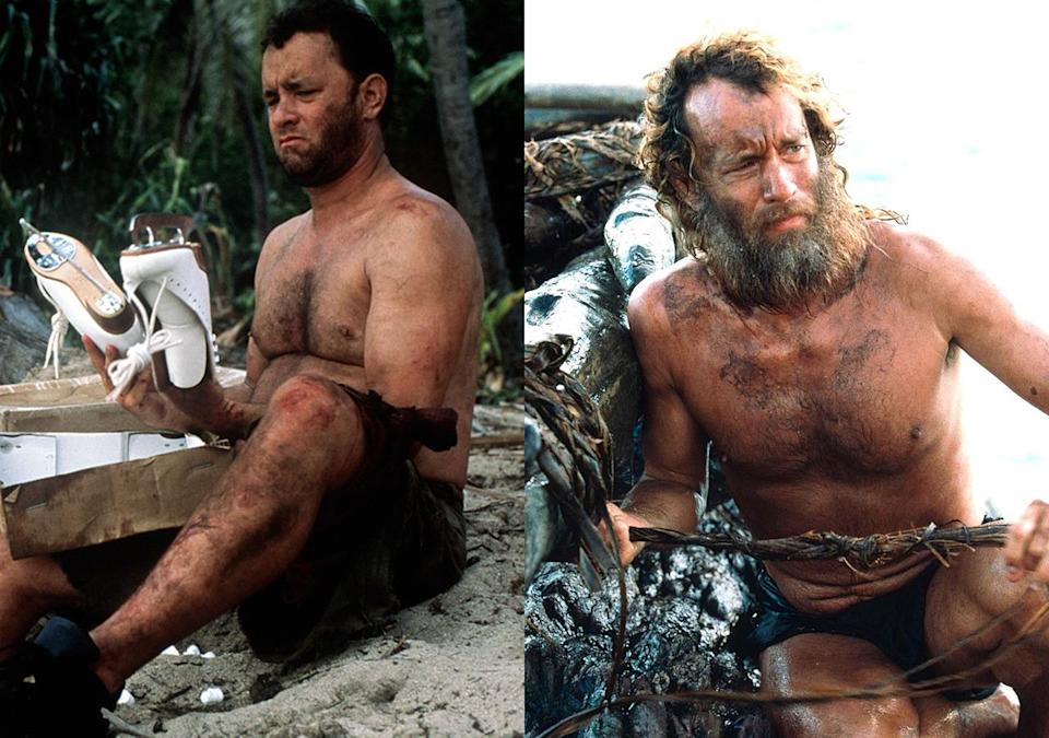 <p>Hanks gained 50lbs for the first part of Robert Zemeckis' desert island movie, then while the crew took a year off to make 'What Lies Beneath', the 'Forrest Gump' star dieted hard, cutting out sugar completely and working out for 2 hours a day. He lost 55lbs in total.<br></p>