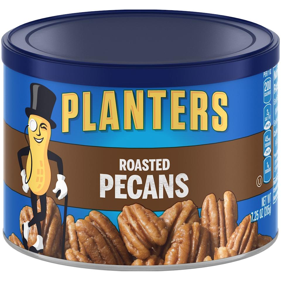 """<p>We could grab these <a href=""""https://www.popsugar.com/buy/Planters-Roasted-Pecans-479854?p_name=Planters%20Roasted%20Pecans&retailer=walmart.com&pid=479854&price=6&evar1=fit%3Aus&evar9=46498381&evar98=https%3A%2F%2Fwww.popsugar.com%2Ffitness%2Fphoto-gallery%2F46498381%2Fimage%2F46498384%2FPlanters-Roasted-Pecans&list1=shopping%2Chealthy%20snacks%2Csnacks%2Cwalmart%2Cketo%20diet&prop13=mobile&pdata=1"""" rel=""""nofollow"""" data-shoppable-link=""""1"""" target=""""_blank"""" class=""""ga-track"""" data-ga-category=""""Related"""" data-ga-label=""""https://www.walmart.com/ip/Planters-Roasted-Pecans-7-25-oz-Canister/20435163"""" data-ga-action=""""In-Line Links"""">Planters Roasted Pecans</a> ($6) and snack all day long.</p>"""