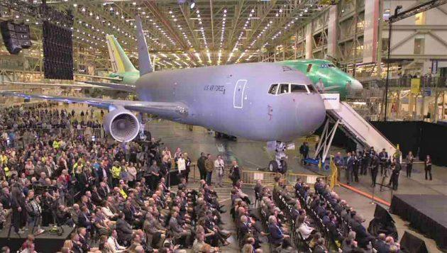 Boeing employees, military personnel and VIPs gather at Boeing's assembly plant in Everett, Wash., for the handover of the first KC-46 refueling airplane. (Boeing via LiveStream)