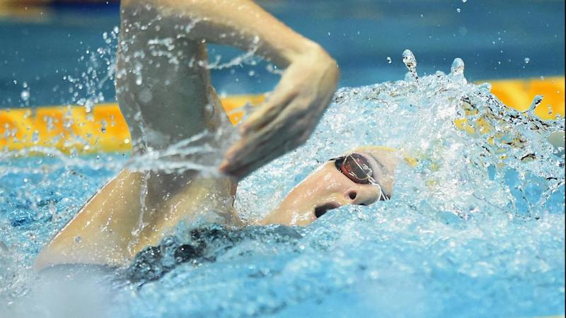 Cate Campbell competes during the 100m freestyle heats at the Pan Pacific swimming championships