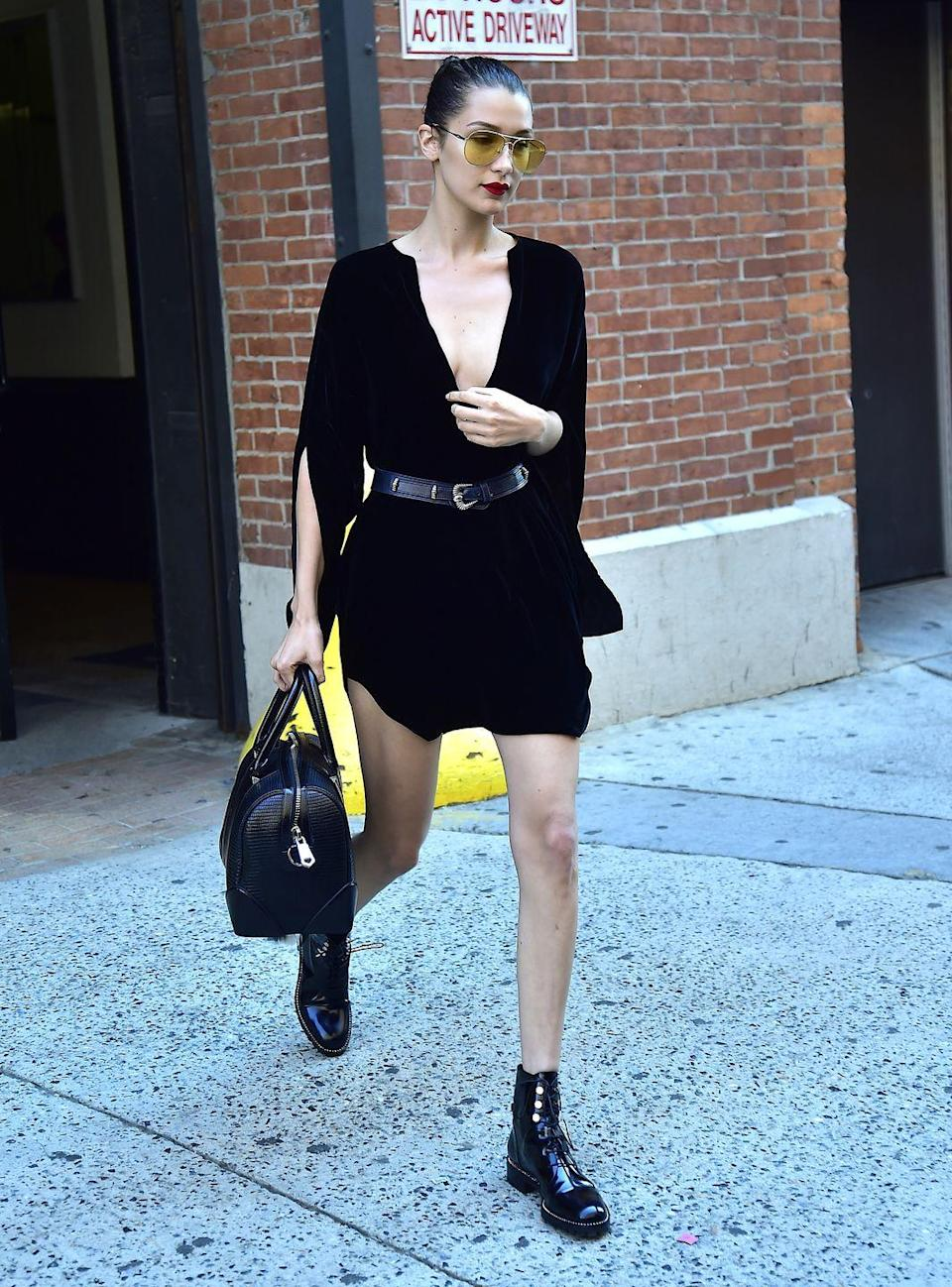<p>Bella Hadid spotted out in New York, July 2016. </p>
