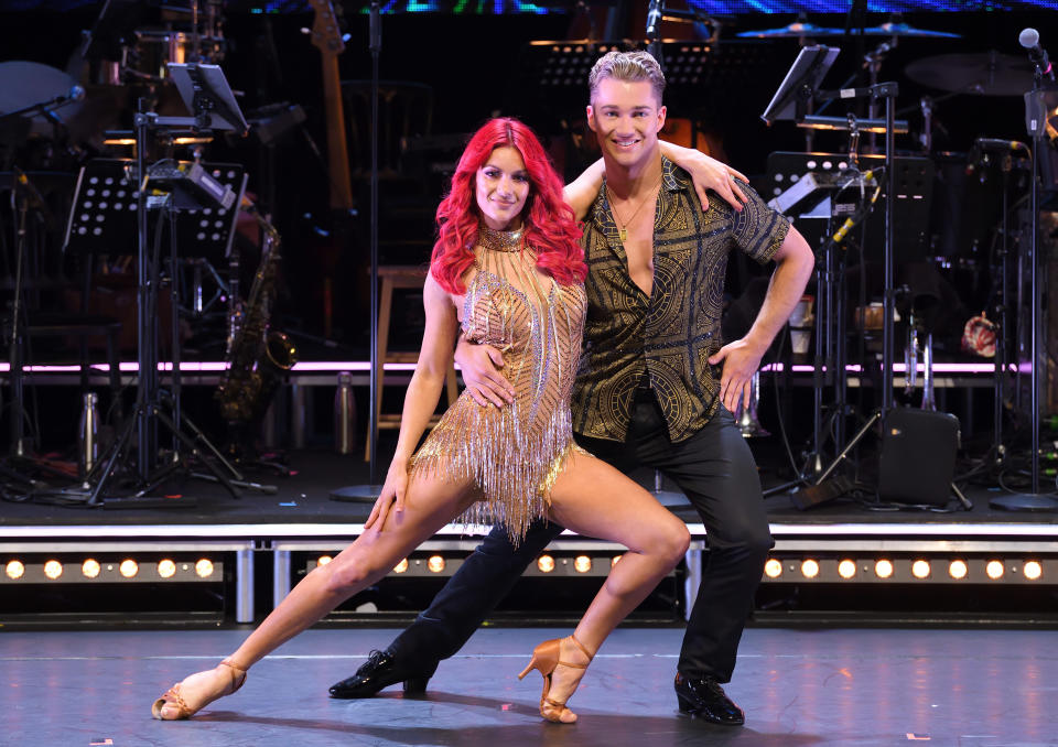 BOREHAMWOOD, ENGLAND - MAY 02: Dianne Buswell and AJ Pritchard attend the Strictly Come Dancing: The Professionals photocall at Elstree Studios on May 02, 2019 in Borehamwood, England. (Photo by Karwai Tang/WireImage)