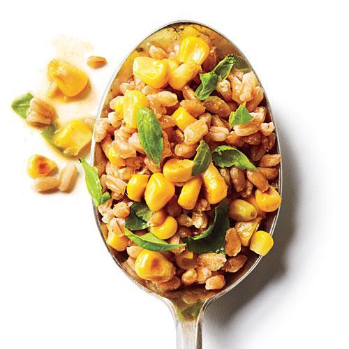 """<p>If you can't find precooked farro, substitute precooked or boil-in-bag brown rice.</p> <p> <a rel=""""nofollow noopener"""" href=""""http://www.myrecipes.com/recipe/basil-corn-farro-salad"""" target=""""_blank"""" data-ylk=""""slk:View Recipe: Basil and Corn Farro Salad"""" class=""""link rapid-noclick-resp"""">View Recipe: Basil and Corn Farro Salad</a></p>"""