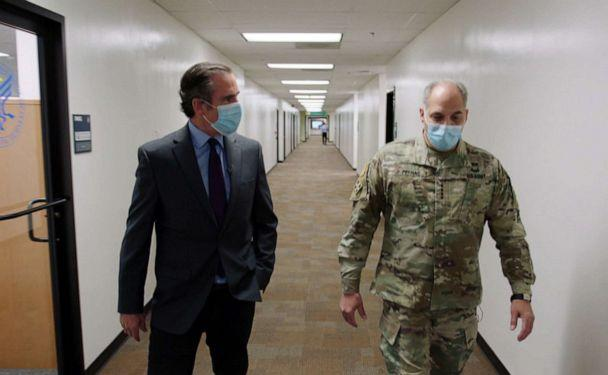 PHOTO: Army Gen. Gustave Perna, chief operating officer for the Defense Department's Project Warp Speed, speaks with ABC News Correspondent Bob Woodruff about plans to distribute the coronavirus vaccine. (ABC News)