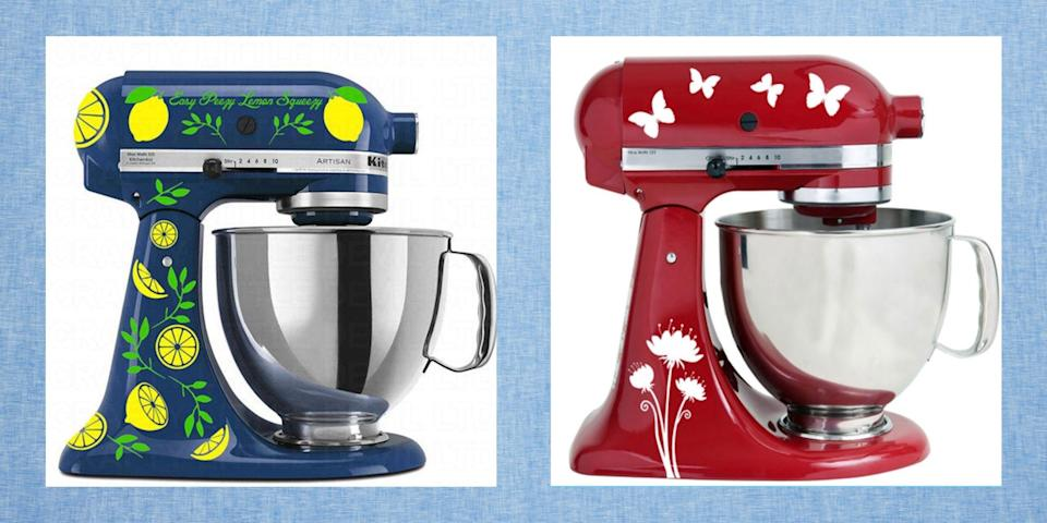 """<p>Ree Drummond's fans ask about her customized stand mixers almost as often as they ask about her husband, Ladd, and her kids. The colorful KitchenAids that appear on her show (the orange, teal, and blue ones) were actually hand-painted by Washington-based artist Nicole Dinardo with a beautiful pattern of roses, daisies, and hydrangeas. (You can buy exact replicas from <a href=""""http://www.unamorecustomshoppe.com/"""" rel=""""nofollow noopener"""" target=""""_blank"""" data-ylk=""""slk:Nicole's shop"""" class=""""link rapid-noclick-resp"""">Nicole's shop</a>). If a customized stand mixer is out of your budget, though, you can get a personalized look another way—with cute stand mixer decals.</p><p>Vinyl decals can totally refresh your mixer in just a few minutes, for less than $20! These stickers are removable, so they can be swapped out whenever you're in the mood for a new look. Best of all, you can find them in countless designs. Whether you want to go for a sweet floral pattern like Ree or a more mod print, you'll find a decal that's right up your alley. The picks below are made specifically to fit a <a href=""""https://go.redirectingat.com?id=74968X1596630&url=https%3A%2F%2Fwww.williams-sonoma.com%2Fproducts%2Fkitchenaid-artisan-stand-mixer%2F&sref=https%3A%2F%2Fwww.thepioneerwoman.com%2Fhome-lifestyle%2Fg35695069%2Fstand-mixer-decals-personalization%2F"""" rel=""""nofollow noopener"""" target=""""_blank"""" data-ylk=""""slk:KitchenAid stand mixer"""" class=""""link rapid-noclick-resp"""">KitchenAid stand mixer</a>'s curves (but may work with other brands, too—you just might need to experiment a bit). Take a look and see what sticks!</p><p>Once you're done customizing your stand stand mixer, put it to good use with some of Ree's delicious recipes, like <a href=""""https://www.thepioneerwoman.com/food-cooking/recipes/a11735/sigrids-carrot-cake-perfect-for-easter/"""" rel=""""nofollow noopener"""" target=""""_blank"""" data-ylk=""""slk:Sigrid's Carrot Cake"""" class=""""link rapid-noclick-resp"""">Sigrid's Carrot Cake</a>, <a href=""""https://www.thepi"""
