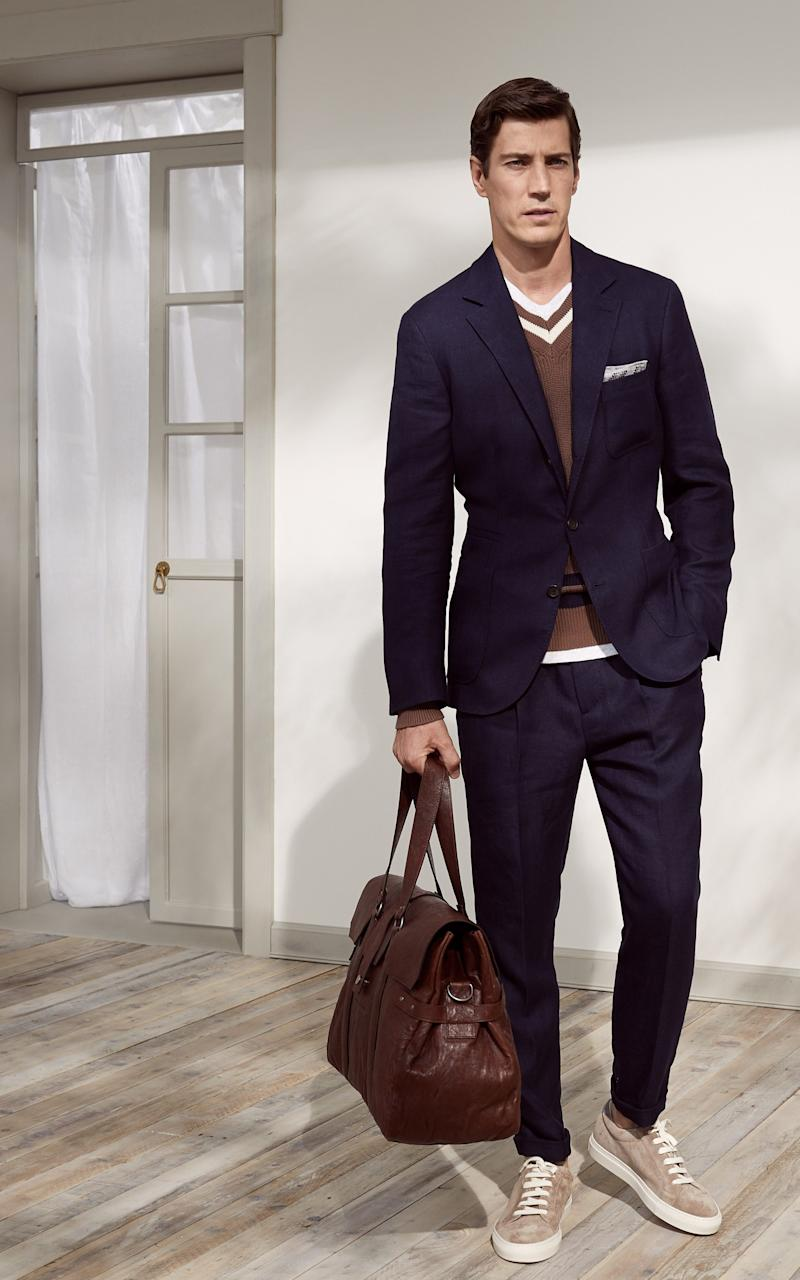 Suiting with trainers as seen at Brunello Cucinelli
