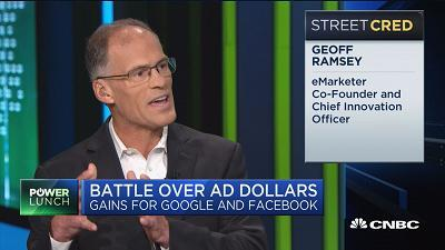 Geoff Ramsey, chairman and chief innovation officer of eMarketer, discusses Google and Facebook battling over ad dollars.