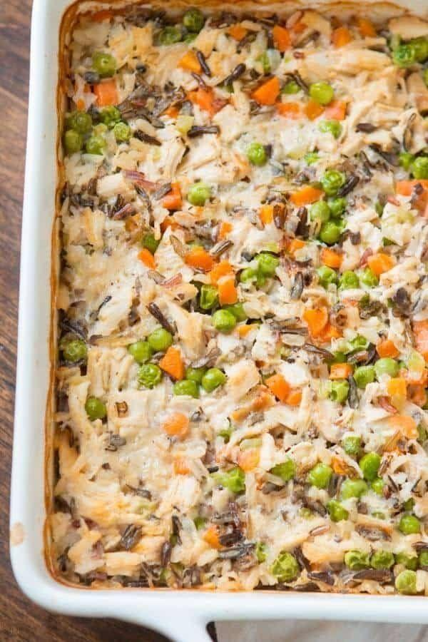 """<strong>Get the <a href=""""https://ohsweetbasil.com/copycat-miltons-creamy-chicken-white-wild-rice-casserole-recipe/"""" target=""""_blank"""">Creamy Chicken With White and Wild Rice Casserole</a> recipe from Oh Sweet Basil</strong>"""
