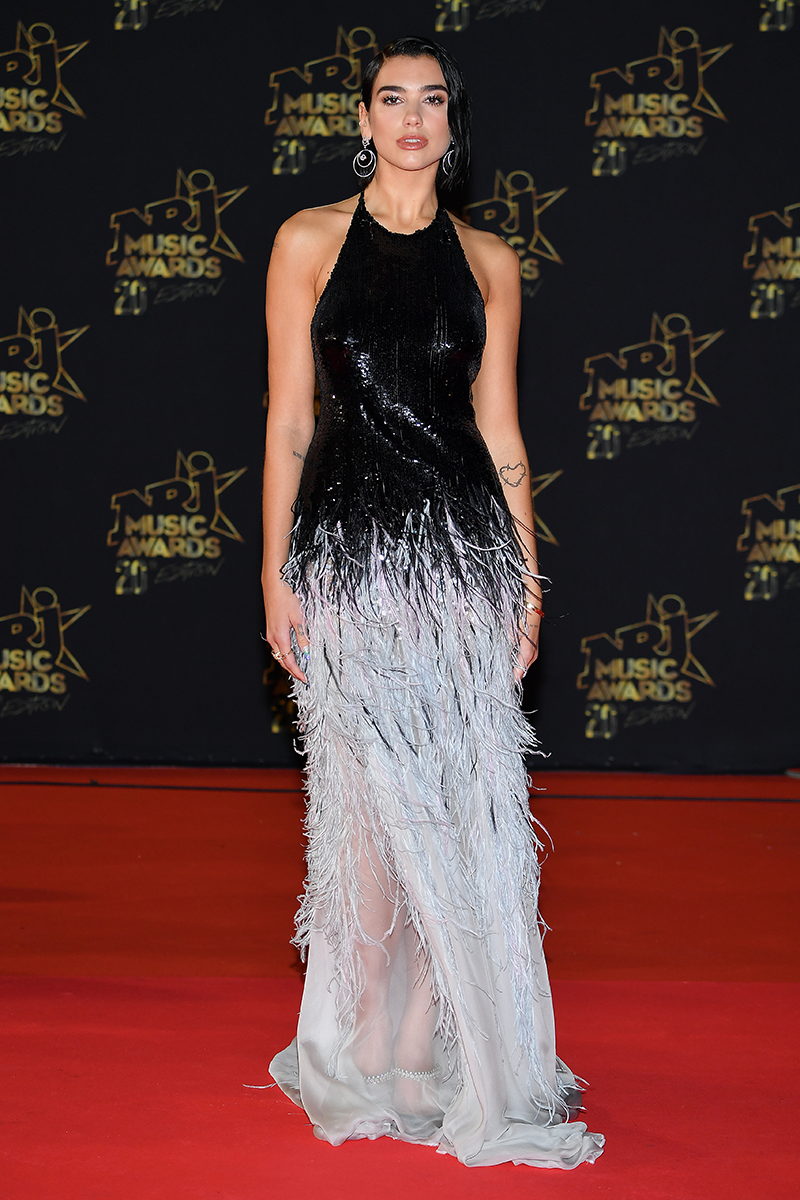 <p>The style chameleon showed her versatility once more at the 2018 NRJ Awards wearing this ombré feathered Armani Privé gown.</p>