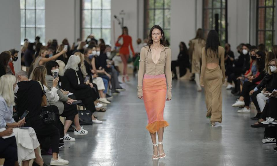 A model wears a creation as part of the Sportmax show in Milan.