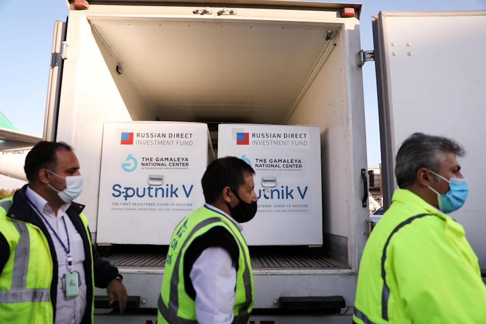 The first shipment of Russia's Sputnik V vaccine arrives in Tehran, Iran, on 4 FebruaryVIA REUTERS