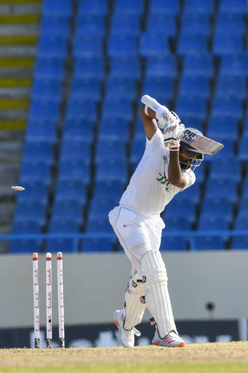 Sri Lanka opener Lahiru Thirimanne was bowled by Kemar Roach for 76 on the third day of the first Test against the West Indies in Antigua