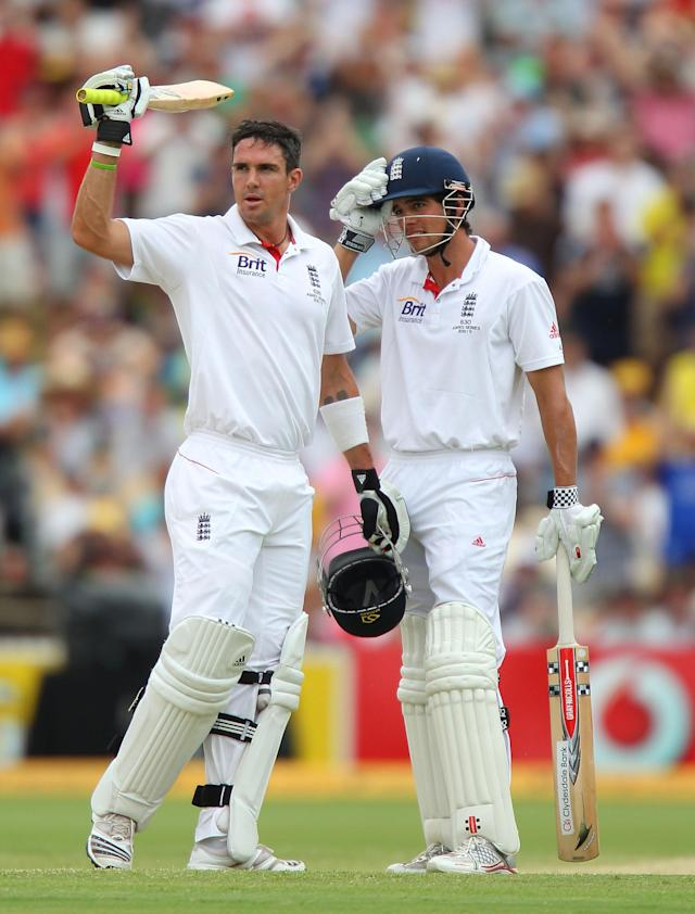 ADELAIDE, AUSTRALIA - DECEMBER 05: Kevin Pietersen of England celebrates after reaching his century as Alastair Cook of England looks on during day three of the Second Ashes Test match between Australia and England at Adelaide Oval on December 5, 2010 in Adelaide, Australia. (Photo by Scott Barbour/Getty Images)