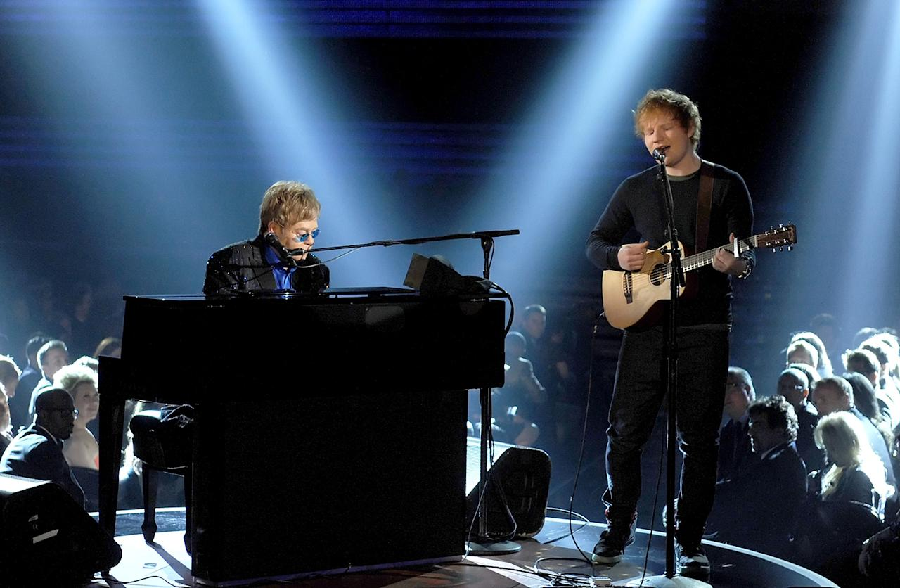 Elton John (L) and Ed Sheeran perform onstage during the 55th Annual GRAMMY Awards at STAPLES Center on February 10, 2013 in Los Angeles, California.  (Photo by Kevin Winter/WireImage)