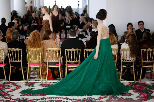 NEW YORK, NY - FEBRUARY 10: A model walks the runway at the Delpozo Fall 2013 fashion show during Mercedes-Benz Fashion Week at Canoe Studios on February 10, 2013 in New York City. (Photo by Andy Kropa/Getty Images)