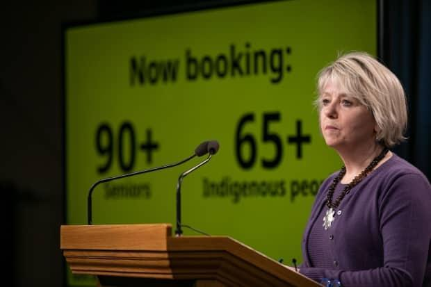Provincial Health Officer Dr. Bonnie Henry speaks at a news conference on COVID-19 vaccination plans in early March. Daily case counts and hospitalizations have all risen since select groups in the general population have been allowed to book vaccinations. (Mike McArthur/CBC - image credit)