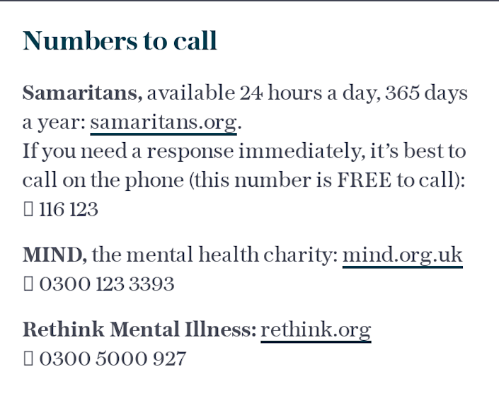 Numbers to call