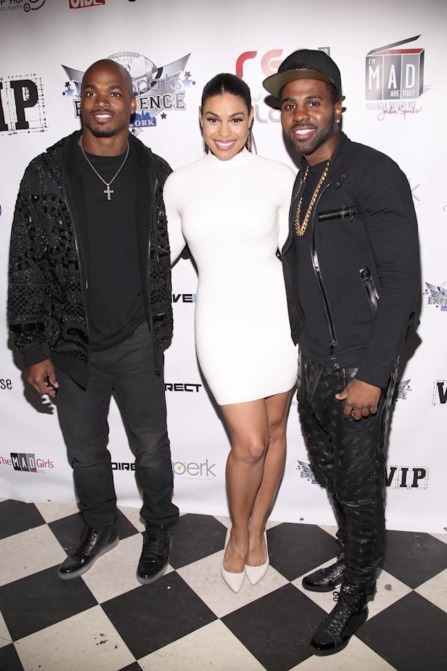 NEW YORK, NY - JANUARY 29: (L-R) Adrian Peterson, Jordin Sparks and Jason Derulo attend Jordin Sparks & Jason Derulo Welcome to New York Red, White and Black Super Bowl Party at WIP on January 29, 2014 in New York City. (Photo by Joe Kohen/Getty Images)