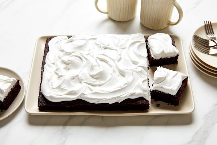 """This is an extra-moist cake meant for serious chocolate lovers. The combo of Dutch-process <a href=""""https://www.epicurious.com/ingredients/types-of-cocoa-powder-recipes-article?mbid=synd_yahoo_rss"""" rel=""""nofollow noopener"""" target=""""_blank"""" data-ylk=""""slk:cocoa powder"""" class=""""link rapid-noclick-resp"""">cocoa powder</a> and <a href=""""https://www.epicurious.com/ingredients/what-is-baking-soda-article?mbid=synd_yahoo_rss"""" rel=""""nofollow noopener"""" target=""""_blank"""" data-ylk=""""slk:baking soda"""" class=""""link rapid-noclick-resp"""">baking soda</a> makes it really deep in color; you'll add a bit of boiling water to the mix to help the baking soda release carbon dioxide and avoid overleavening. <a href=""""https://www.epicurious.com/recipes/food/views/deep-dark-chocolate-cake-bakewise?mbid=synd_yahoo_rss"""" rel=""""nofollow noopener"""" target=""""_blank"""" data-ylk=""""slk:See recipe."""" class=""""link rapid-noclick-resp"""">See recipe.</a>"""
