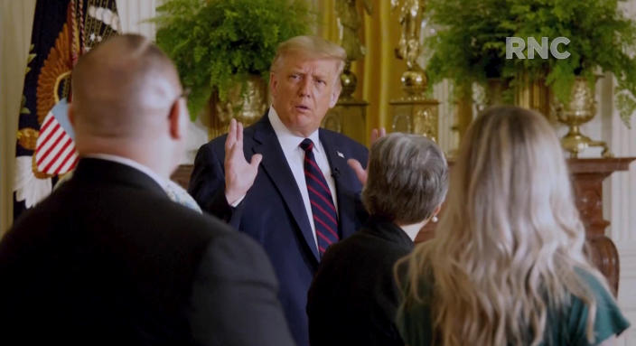 President Trump speaks to first responders on a video during the virtual Republican National Convention on August 24, 2020. (via Reuters TV)