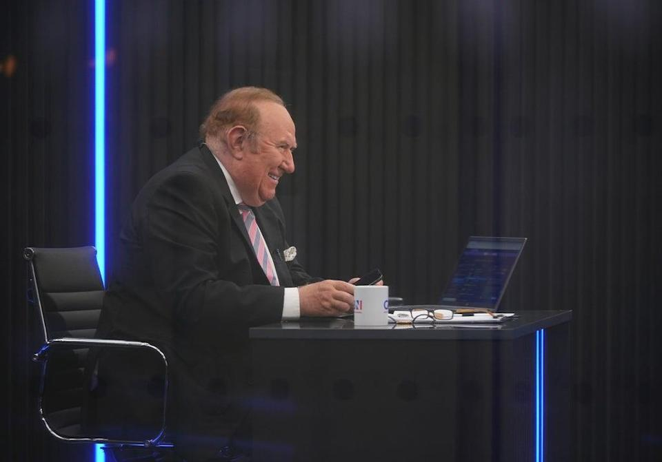 Presenter Andrew Neil prepares to broadcast from a studio during the launch event for new TV channel GB News (Yui Mok/PA (PA Wire)