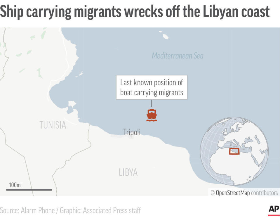 This map shows the last known location of a boat carrying more than 100 Europe-bound migrants. Independent rescue groups say that more than 100 Europe-bound migrants are feared dead in a shipwreck off the Libyan Mediterranean coast. (AP Digital Embed)
