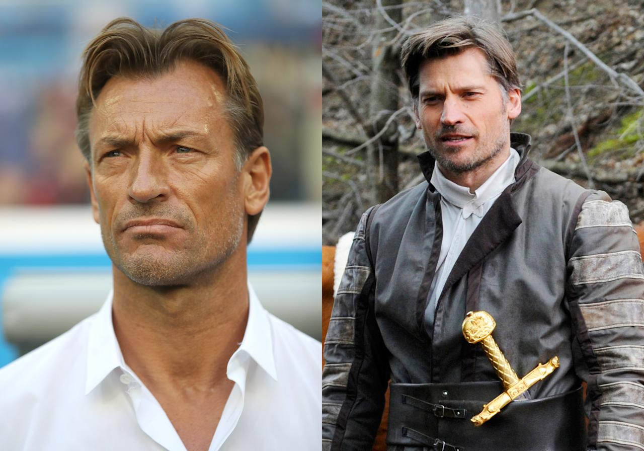 <p>Morocco's ridiculously good looking coach Herve Renard and <em>Game of Thrones</em> actor Nikolaj Coster-Waldau </p>