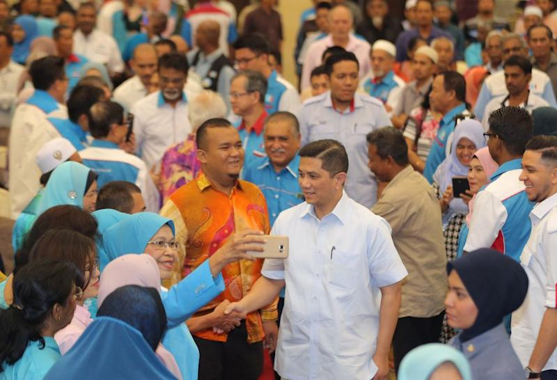Economic Affairs Minister Datuk Seri Mohamed Azmin Ali arrives at the launch of PKR's annual general meeting at the Kinta Riverfront Hotel in Ipoh August 26, 2018. ― Picture by Marcus Pheong