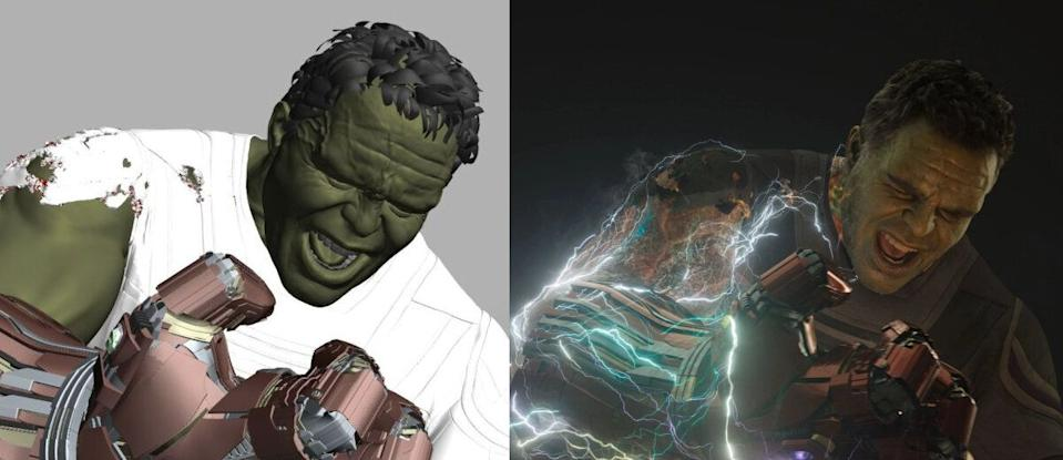VFX breakdown of Mark Ruffalo as Hulk in 'Avengers: Endgame'. (Credit: Marvel)