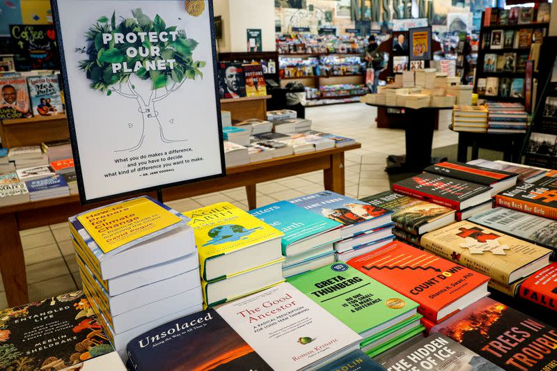 Climate change themed books are displayed together at a Barnes & Noble book store in Brooklyn, New York