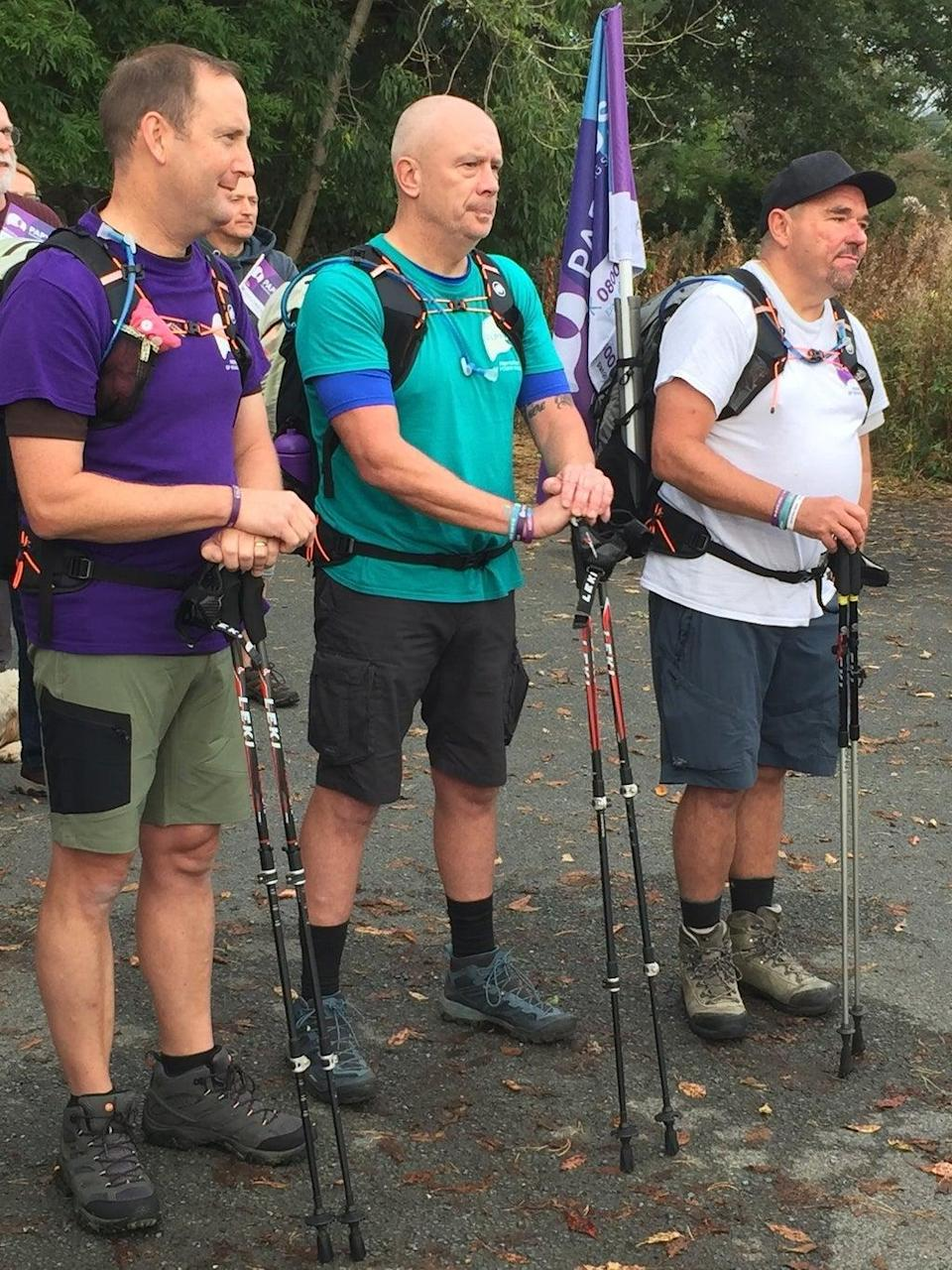 The three men are taking on a 300-mile trek to help a suicide prevention charity ((Papyrus/PA))