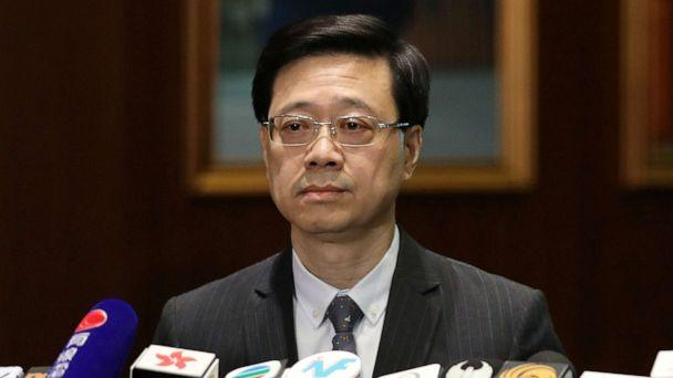 PHOTO: Secretary of Security John Lee Ka-Chiu announces the withdrawal of the extradition bill, in Hong Kong, Oct. 23, 2019. (Ammar Awad/Reuters)