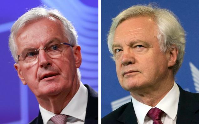David Davis and Michael Barnier meet in Brussels: both sides have called for 'constructive' talks