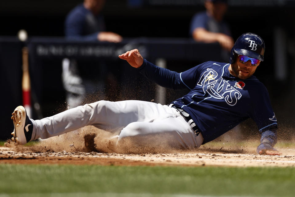 Tampa Bay Rays' Kevin Kiermaier scores a run during the third inning of a baseball game against the New York Yankees on Monday, May 31, 2021, in New York. (AP Photo/Adam Hunger)