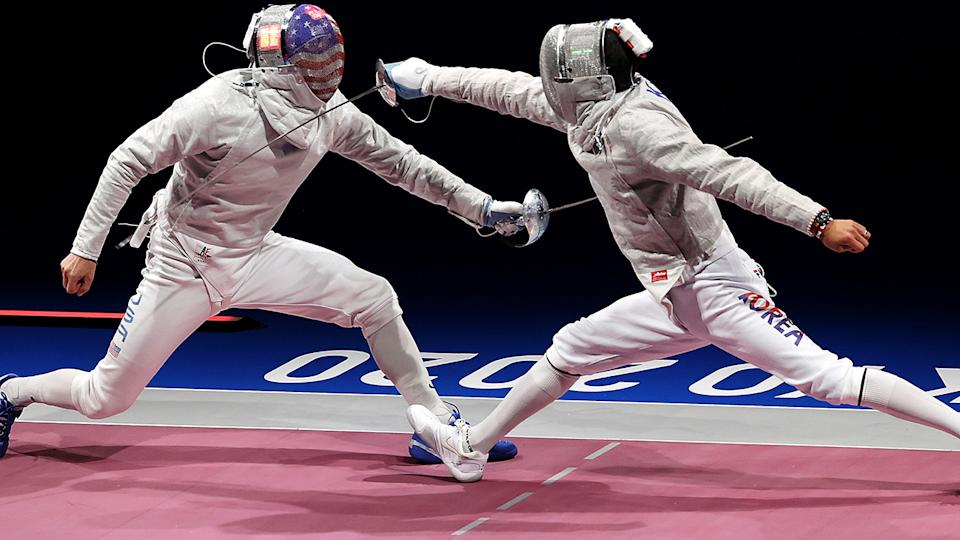 Eli Dershwitz, pictured here in action against Junghwan Kim at the Tokyo Olympics.