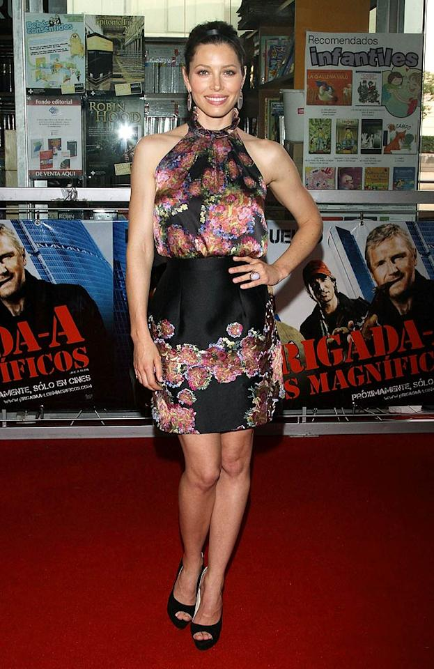"""Despite not accessorizing with her adorable boy toy, Justin Timberlake, Jessica Biel looked better than ever while in Mexico to promote her new movie, """"The A-Team."""" The brunette beauty showed off her strong shoulders and gorgeous gams in a floral halter dress and peep-toes, courtesy of British designer Erdem. Victor Chavez/<a href=""""http://www.wireimage.com"""" target=""""new"""">WireImage.com</a> - May 31, 2010"""