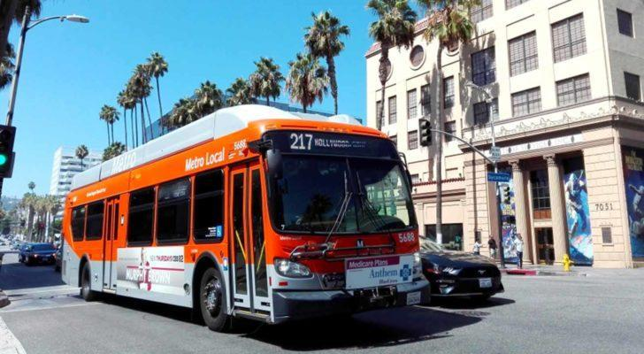 Image of a Metro Local public transportation bus on Hollywood Blvd.