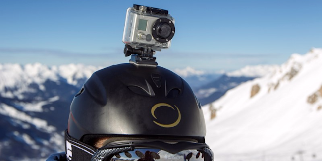 A GoPro camera is seen on a skier's helmet as he rides down the slopes in the ski resort of Meribel, French Alps, January 7, 2014.</p> <p>REUTERS/Emmanuel Foudrot/File Photo