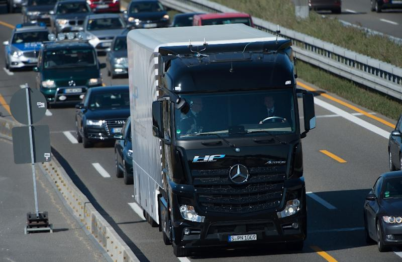 A Mercedes-Benz Actros truck equipped with a highway pilot automated self-driving system