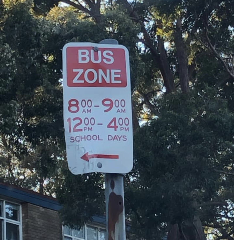 During school holidays, vehicles can be parked in this bus zone all day. However Tuesday does not classify as a school holiday. Source: Facebook