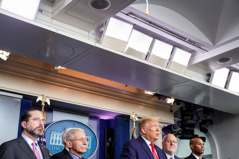 U.S. President Trump speaks during a news conference on the coronavirus outbreak in Washington